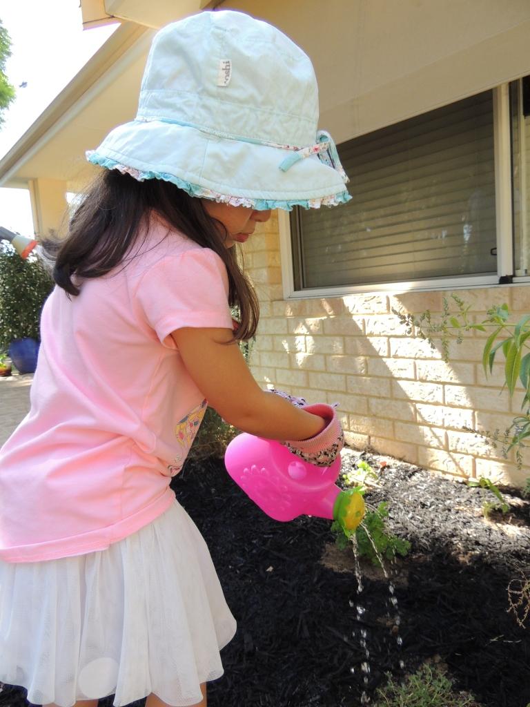 Isabel watering herbs