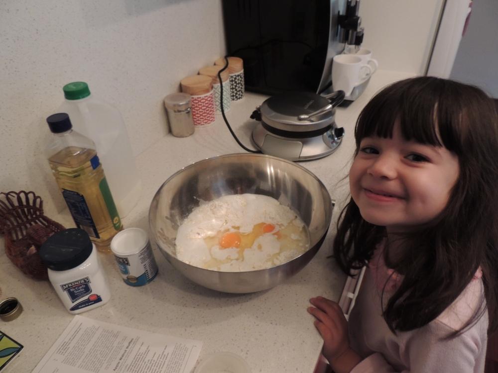 Hurry up and make the waffles Mum!