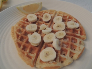 lemon juice, sugar and banana waffle