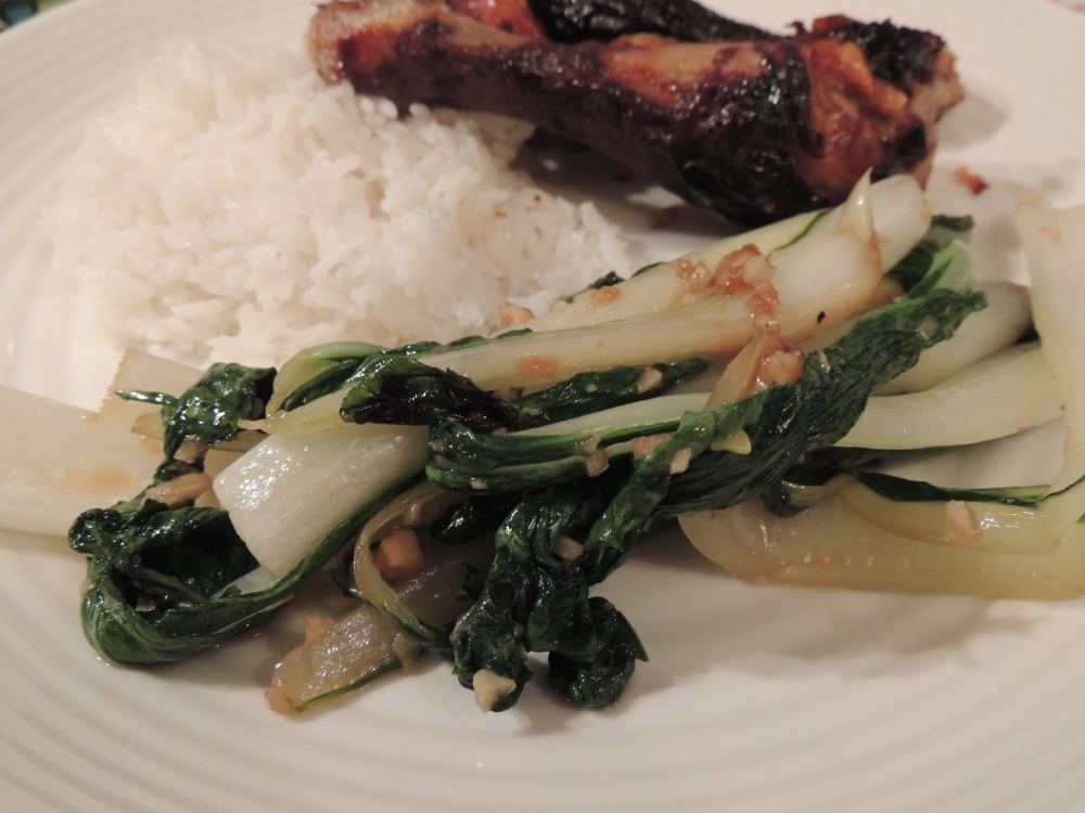 Bok choy sauteed in garlic and oyster sauce