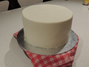 Fondant covered three layer cake