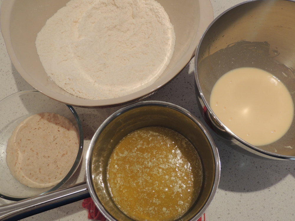 The dough elements ready for mixing