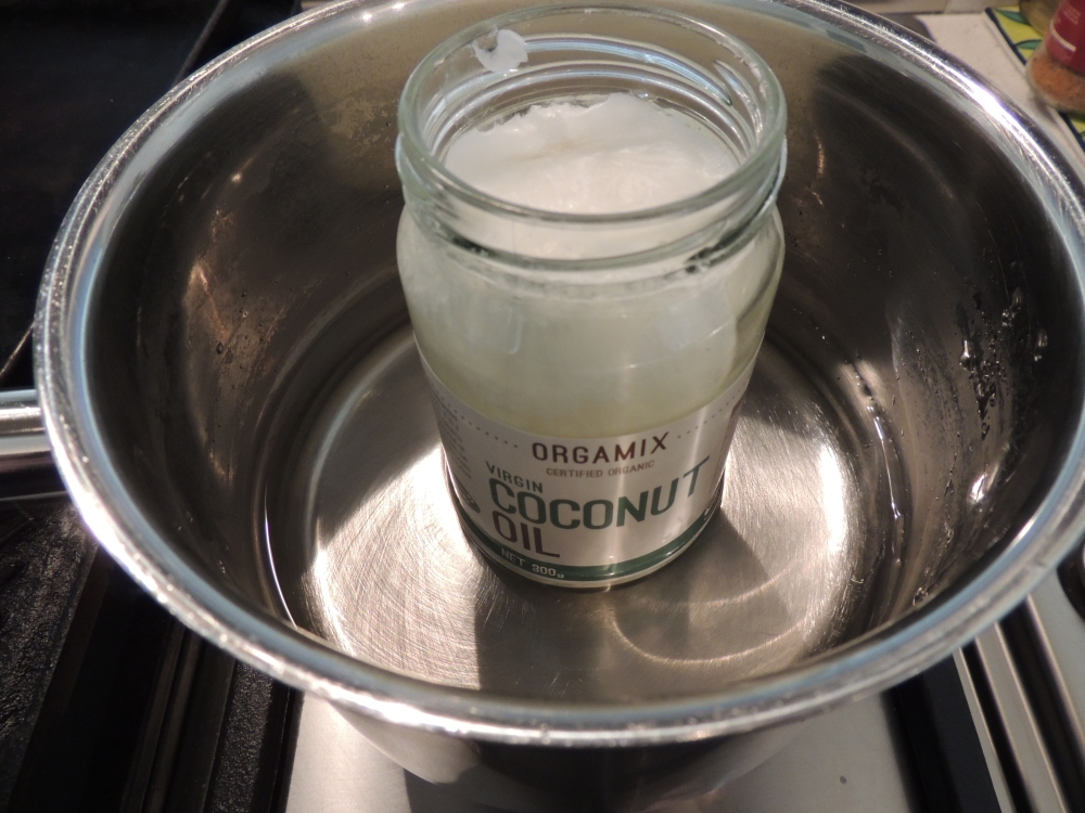 Warming up the coconut oil