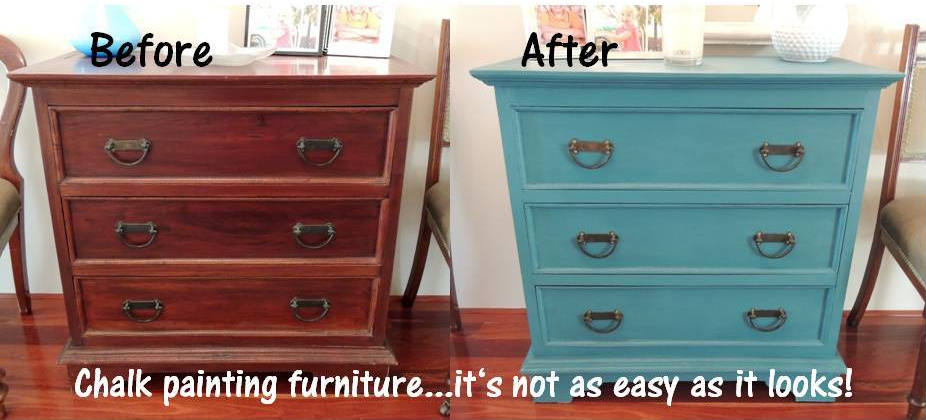 Before and after chalk painting furniture