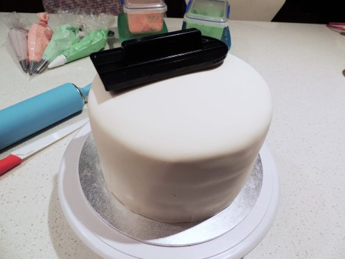 Coated in white fondant