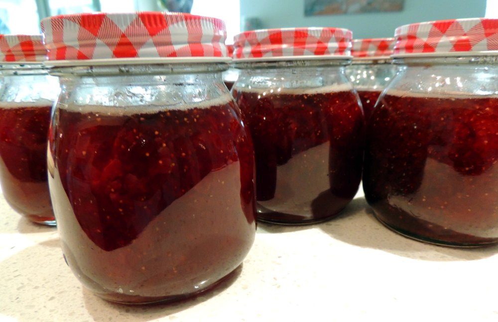 Strawberry jam preserve jars